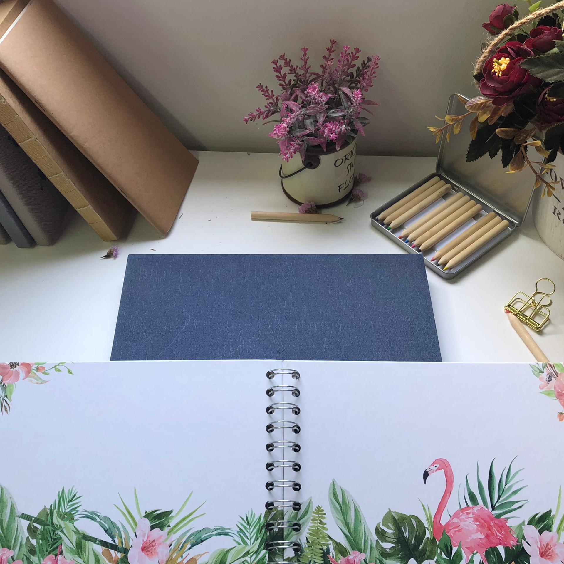 Low Moq Custom Print Flamingo Design Hardcover Spiral