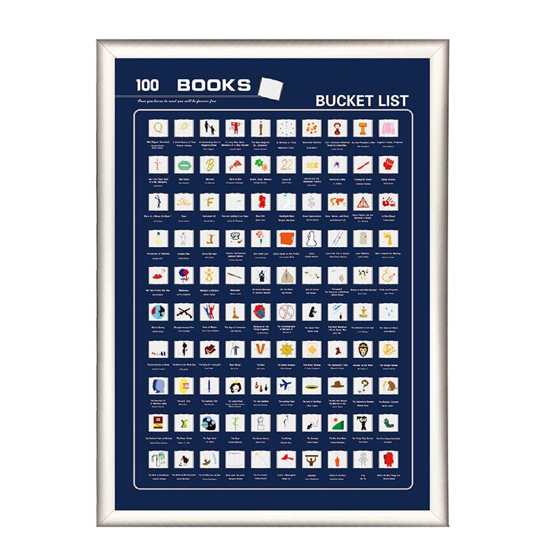 High Quality Scratch off 100 Must Read Books Bucket List Poster SBP--001