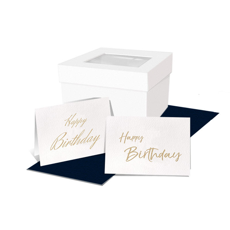 White Texture Paper Embossed Gold Foil Happy Birthday Cards With Gift Boxes