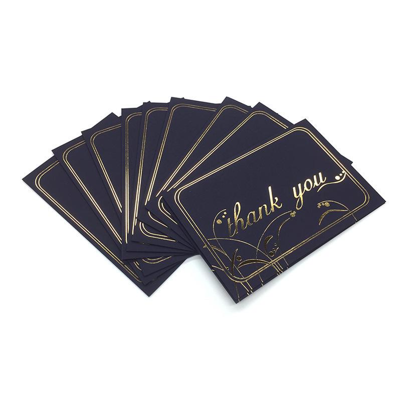 100 Pack Gold Foil Black Paper Custom Floral Thank You greeting Cards With Black Envelope