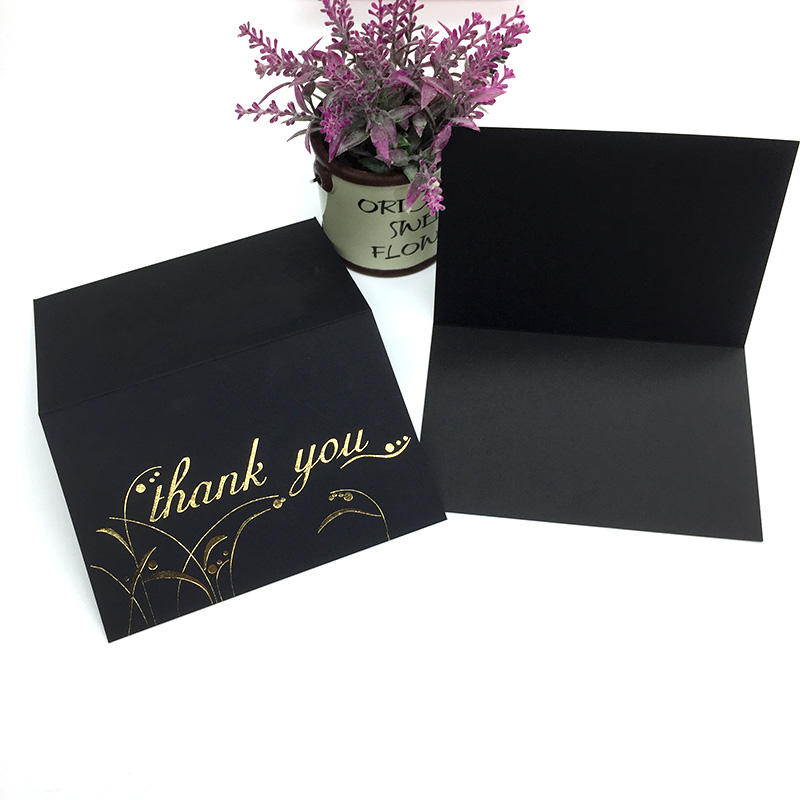 100 Pack Gold Foil Black Paper Custom Floral Thank You greeting Cards With Black Envelope