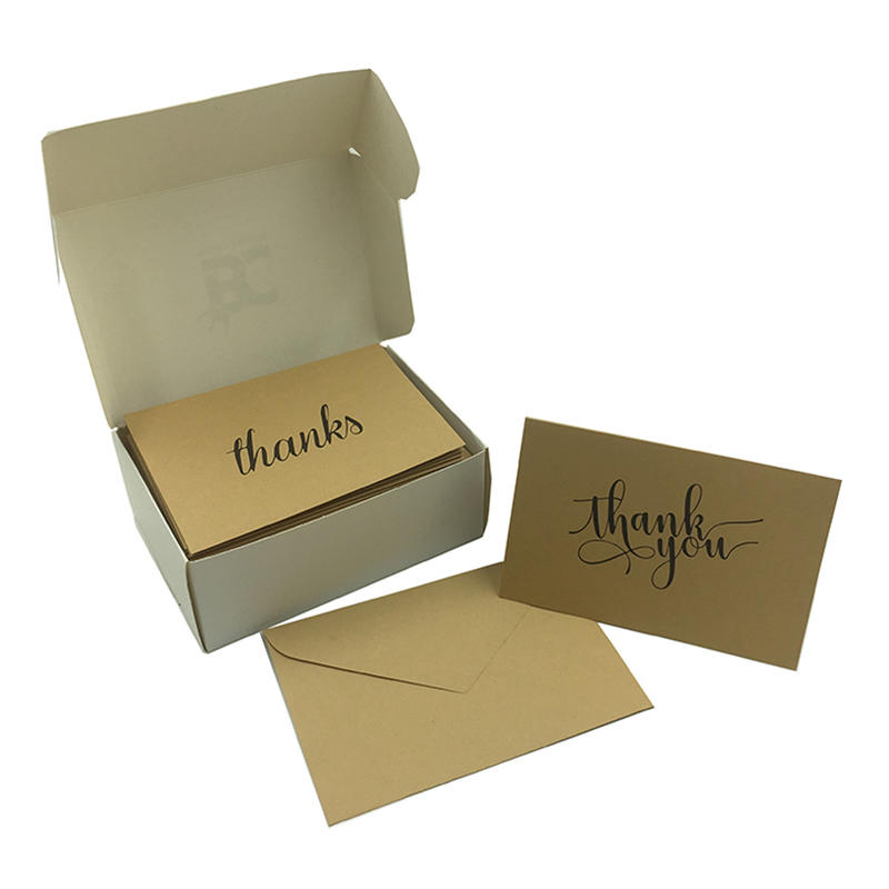 High Quality 4x6 Recycled Kraft Paper Thank You Cards Pack With Envelope