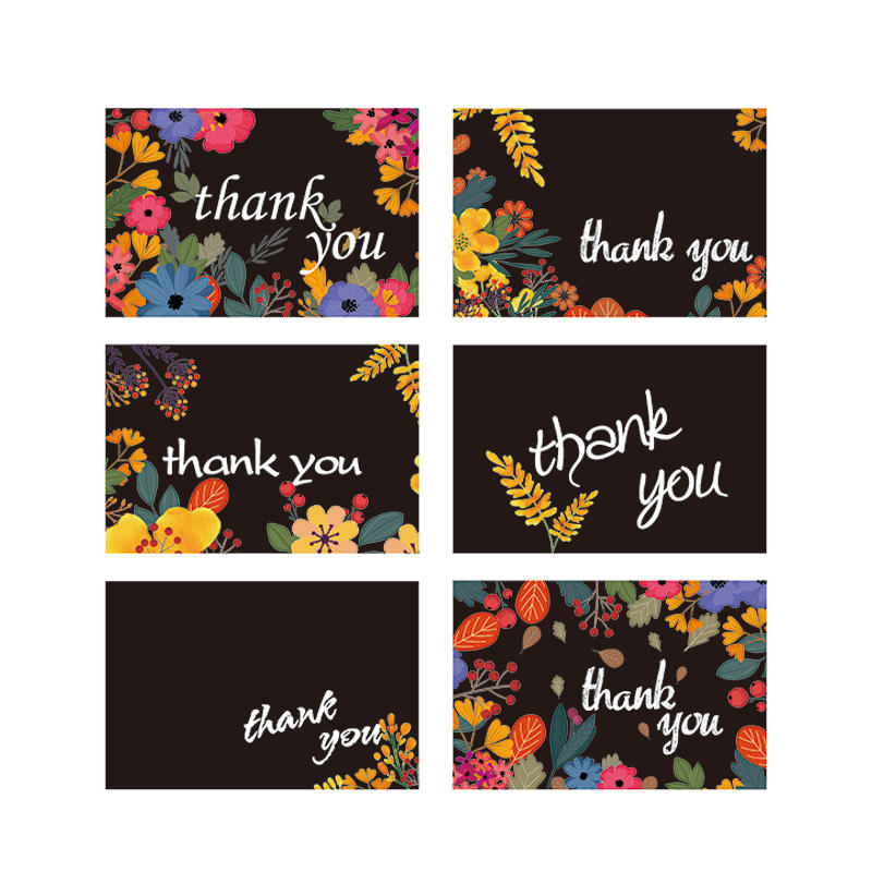 36 48 50 100 Pack Custom Folded Floral Thank You Cards