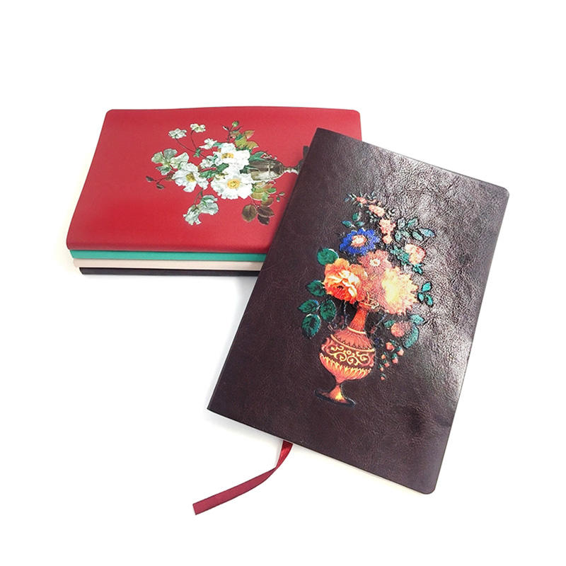 B5 A5 A6 PU Leather Ruled Pages Journal Premium Color Edge Notebook With Ribbon Bookmark