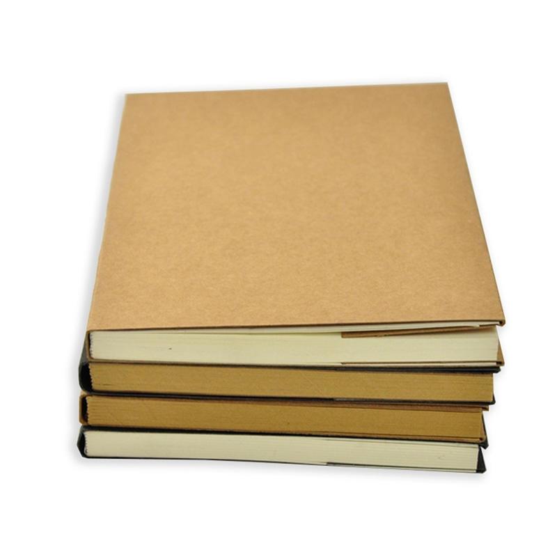 32K Journal Custom Plain Kraft Paper Blank Cover Sketch Book With Nude Spine Exposed Binding