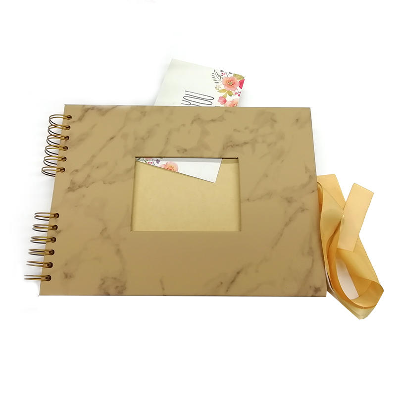 Leather photo albums scrapbook with window and ribbon closure  PA--001