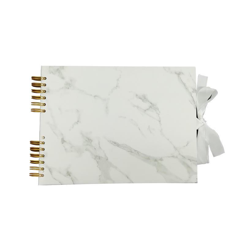 Marble Print Green Design Gold Spiral Binding PU Leather Photo Album scrapbook With Ribbon Closure