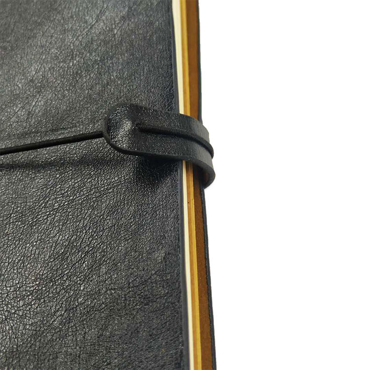 Blank black real pu leather traveler journal with 3 books