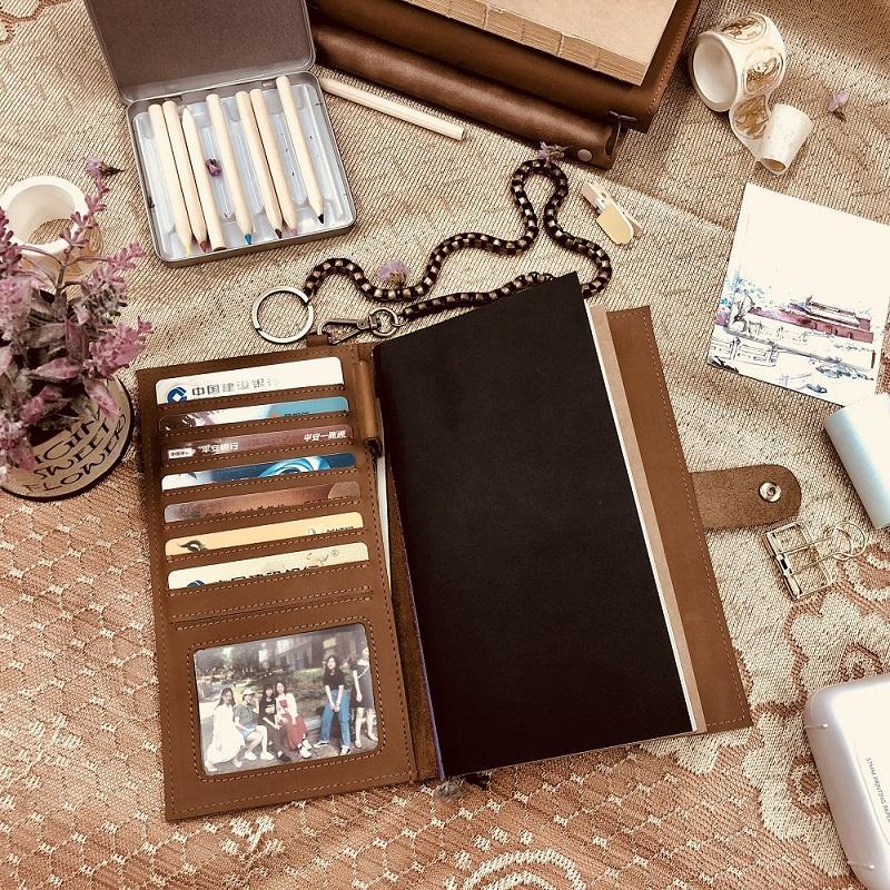 Custom Logo Handmade Travel Notebook Refillable Leather Journal Cover Gift With Pen Holder