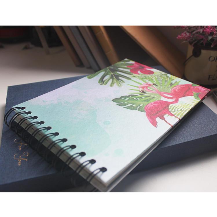 Low MOQ Custom Print Flamingo Design Hardcover Spiral Photo Album for Polaroid
