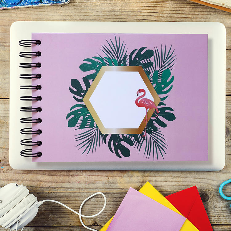 2020 Silver Spiral Binding Flamingo Photo Album With Self Adhesive Pages for Memories