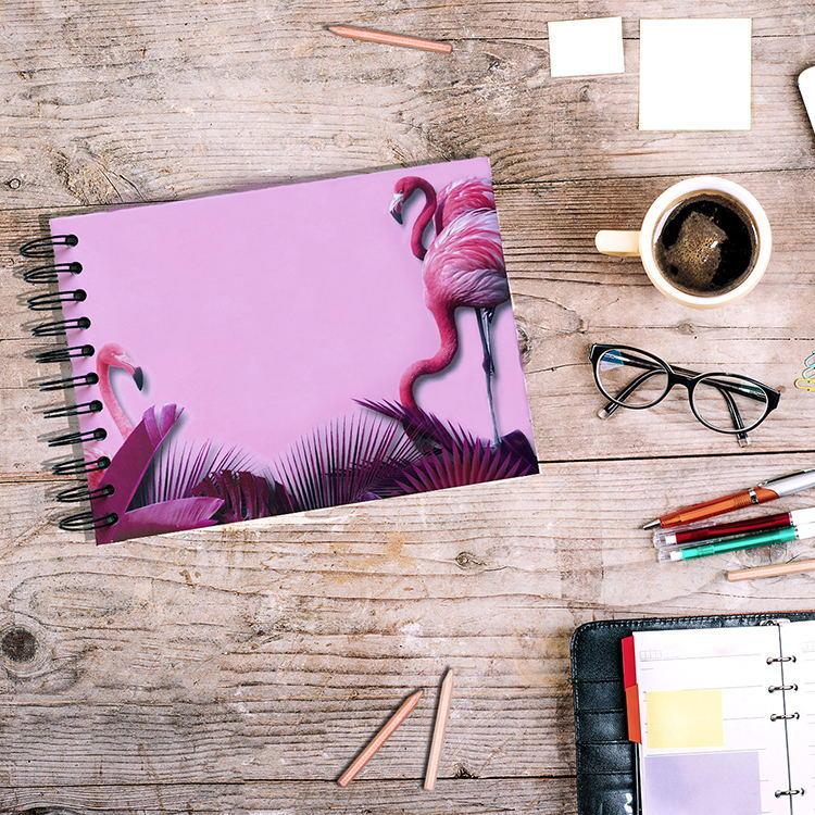 Colorful Hardcover Spiral Binding Scrapbooking Photo Album with Flamingo Design