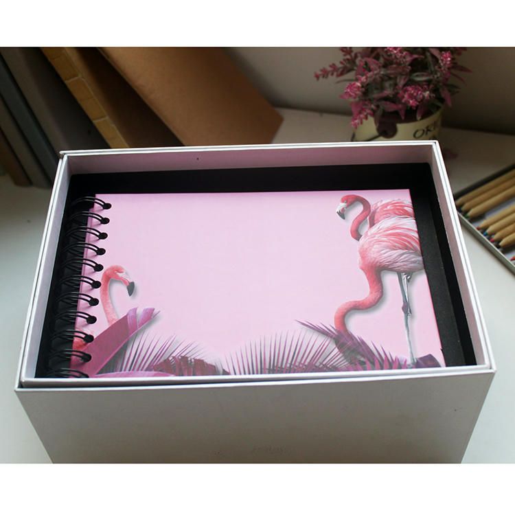 Colorful Hardcover Spiral Binding Scrapbooking Photo Album with Flamingo Design