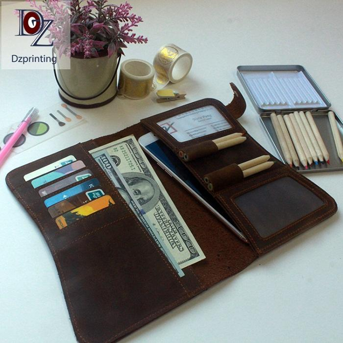 Wholesale High Quality Handmade Genuine Leather Refillable Travel Notebook Leather Journal With Pen Holder