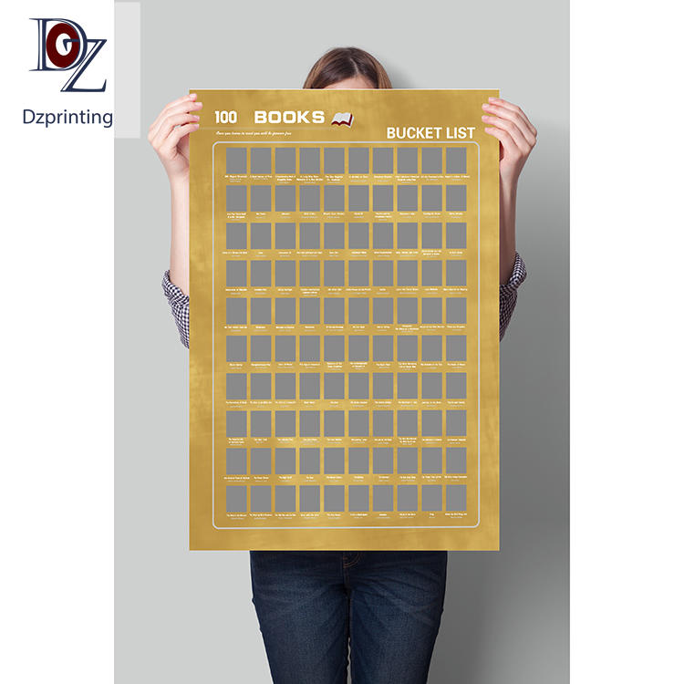 Great quality book scratch off poster motivational scratch poster top 100 scratch off poster