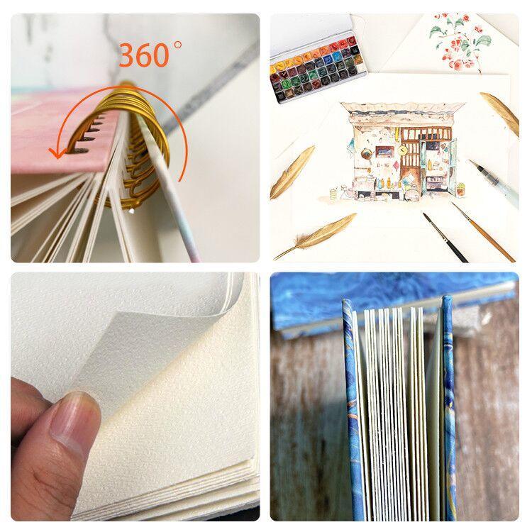 Spiral bound watercolor journal hardcover spiral bound notebook spiral notebook 5x7 custom size wholesale sketch notebook