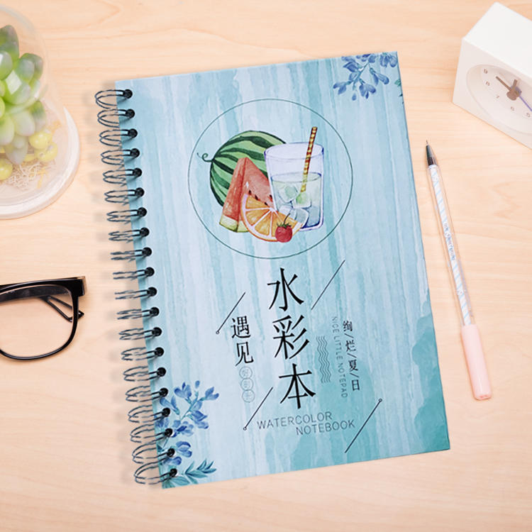 product-Spiral bound watercolor journal hardcover spiral bound notebook spiral notebook 5x7 custom s-5