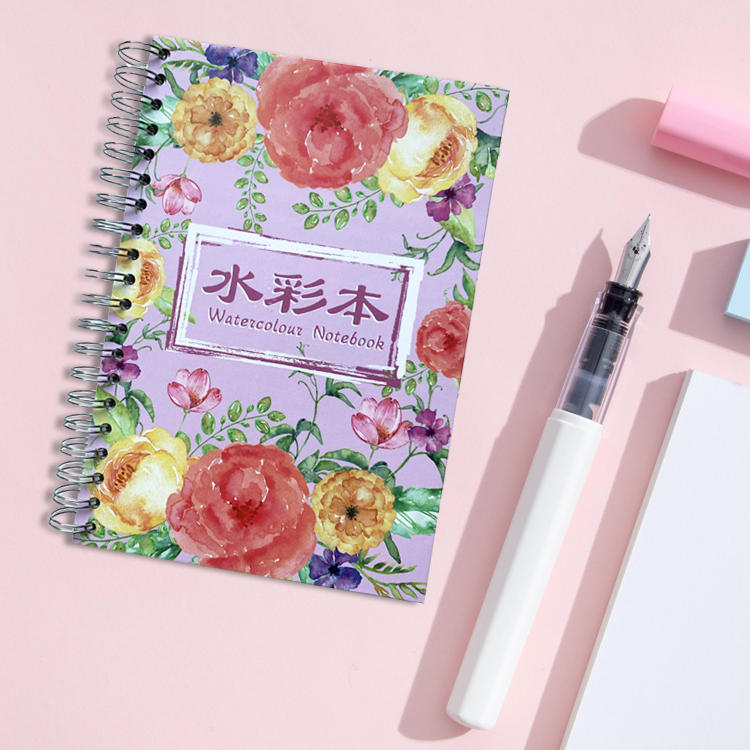 product-Dezheng-Spiral bound watercolor journal hardcover spiral bound notebook spiral notebook 5x7 -2