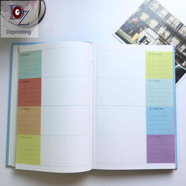 Custom logo journals hardcover A5 day week month planner hardcover with color pages
