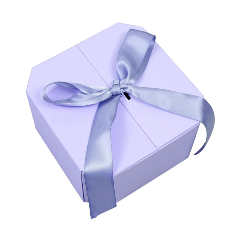 High end two sides open purple hexagon cosmetic box packaging gift box with ribbon and color ball insert
