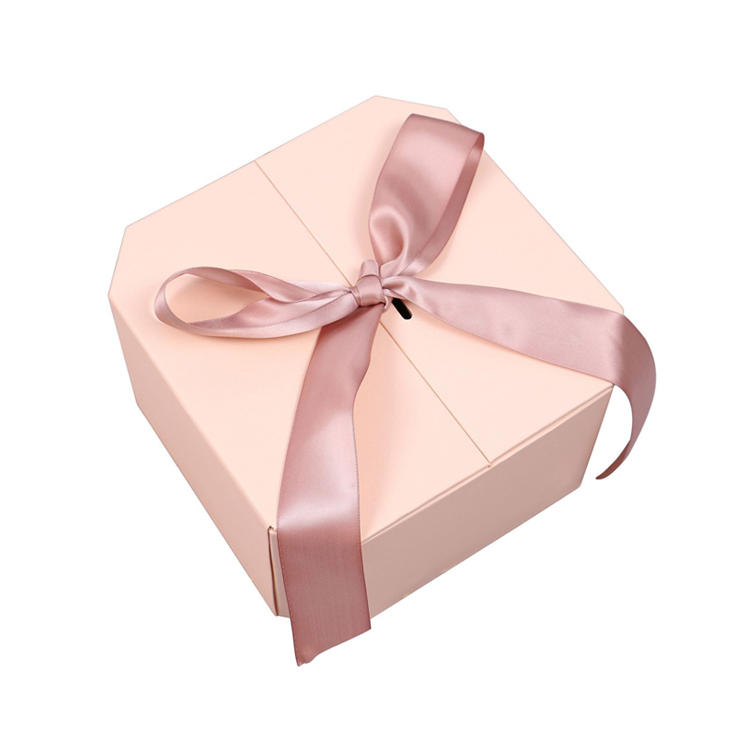 product-High end two sides open purple hexagon cosmetic box packaging gift box with ribbon and color-3