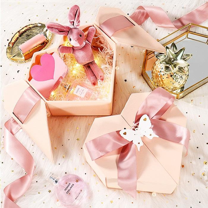 Pink heart-shaped gift boxes for birthday