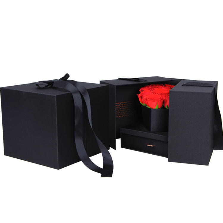 Wholesale Flower Chocolate Paper Box Black Cardboard Creative Hardcover Gift Flower Packaging Box with Ribbon Switch