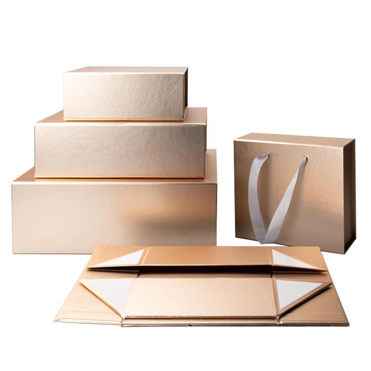 Hot Selling Wholesale Custom Folding Storage Clothing Box Packaging Foldable Cardboard Craft Gift Box with Ribbon