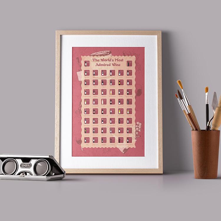 Custom original design red wine poster scratch off bucket list