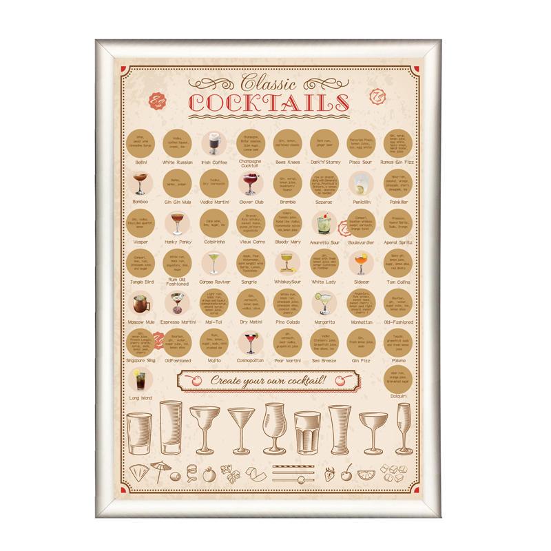 50 Cocktails Bucket List Scratch Poster