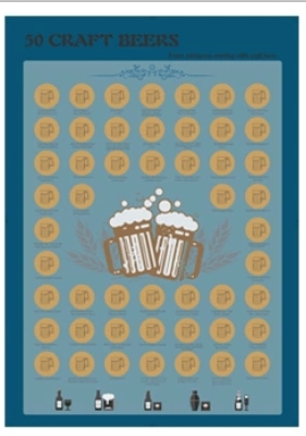 product-Motivational Poster Top 50 Craft Beer Bucket List Scratch Off Poster For Amazon-Dezheng-img-1