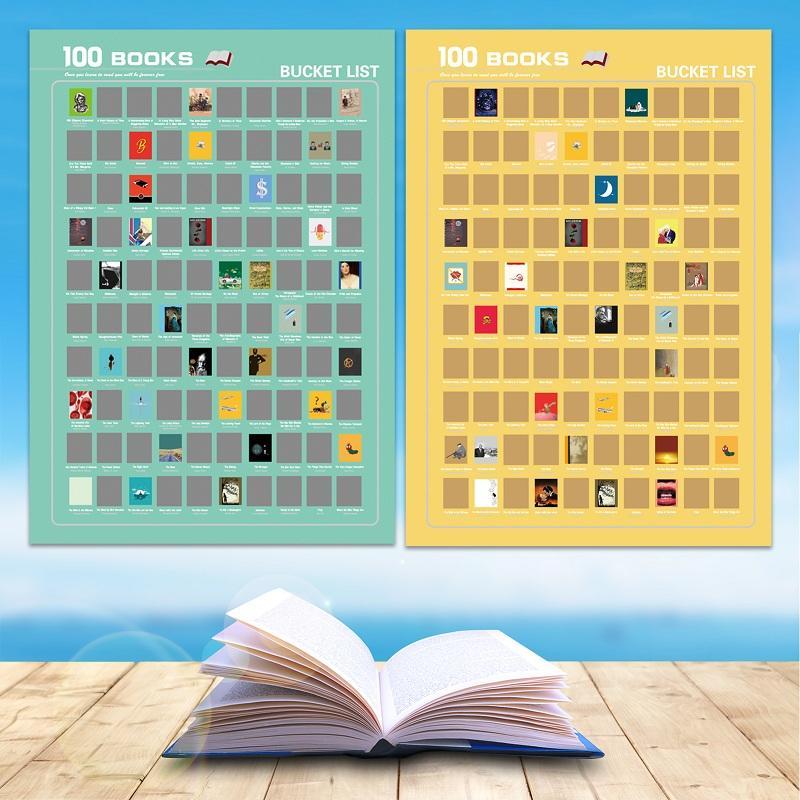 100 must read books bucket list scratch poster