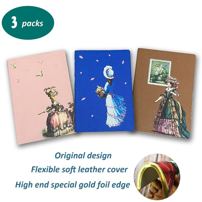 A5 Soft Cover PU Notebook With Gold Edge, Court Retro Style Vintage Notebook for Women