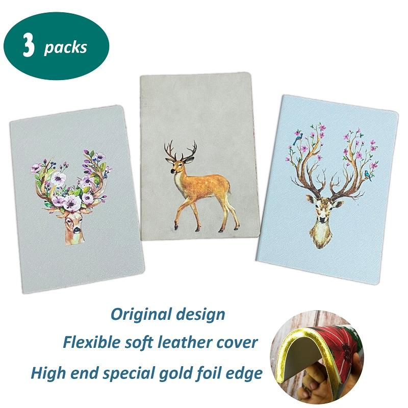 Leather Notebook A5 Animal Elk Pattern Notebook for Christmas