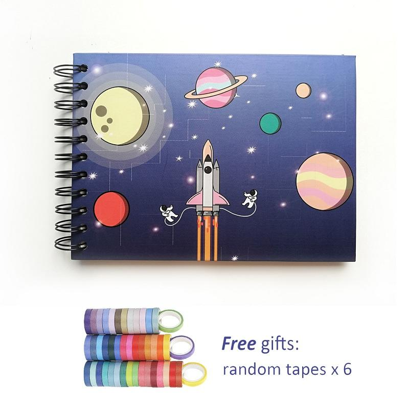 Astronaut Space Travel Design Black Spiral Binding 10 sheets Adhesive Pages Photo Album For Child