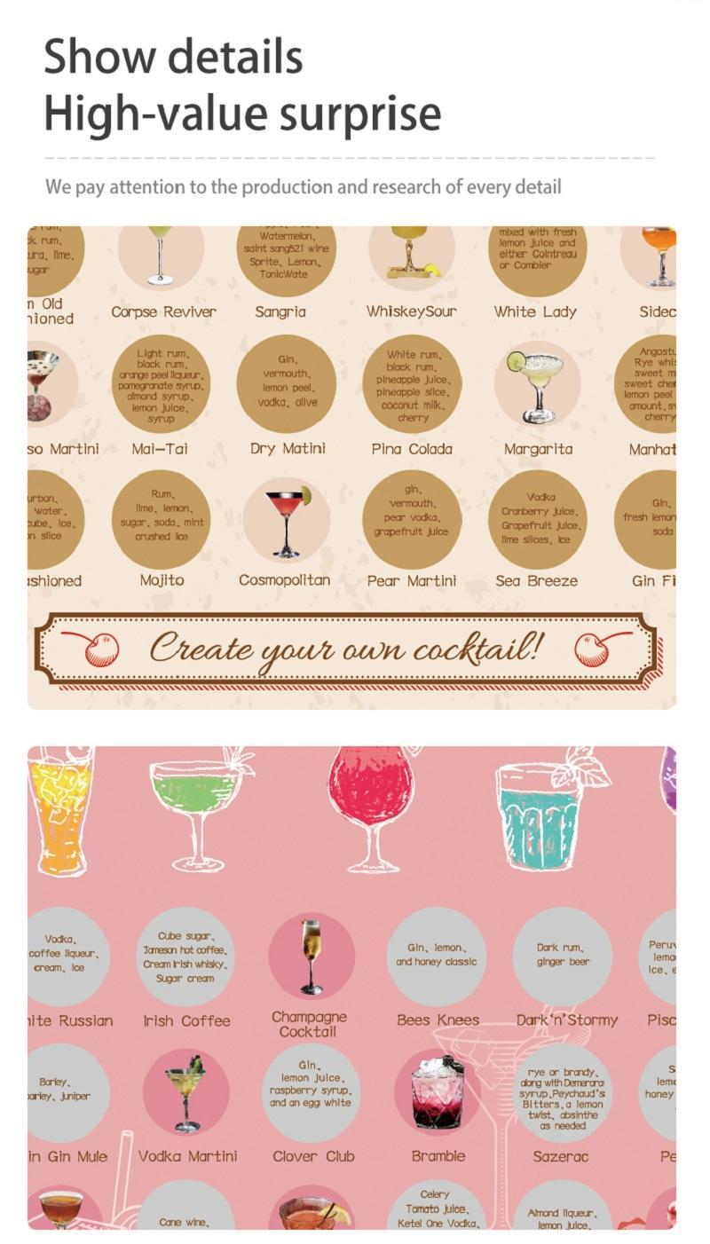 50 Must Drink Cocktail Bucket List Custom Scratch off Poster   Alcohol Bar Themed   Wall Art Print for Bar