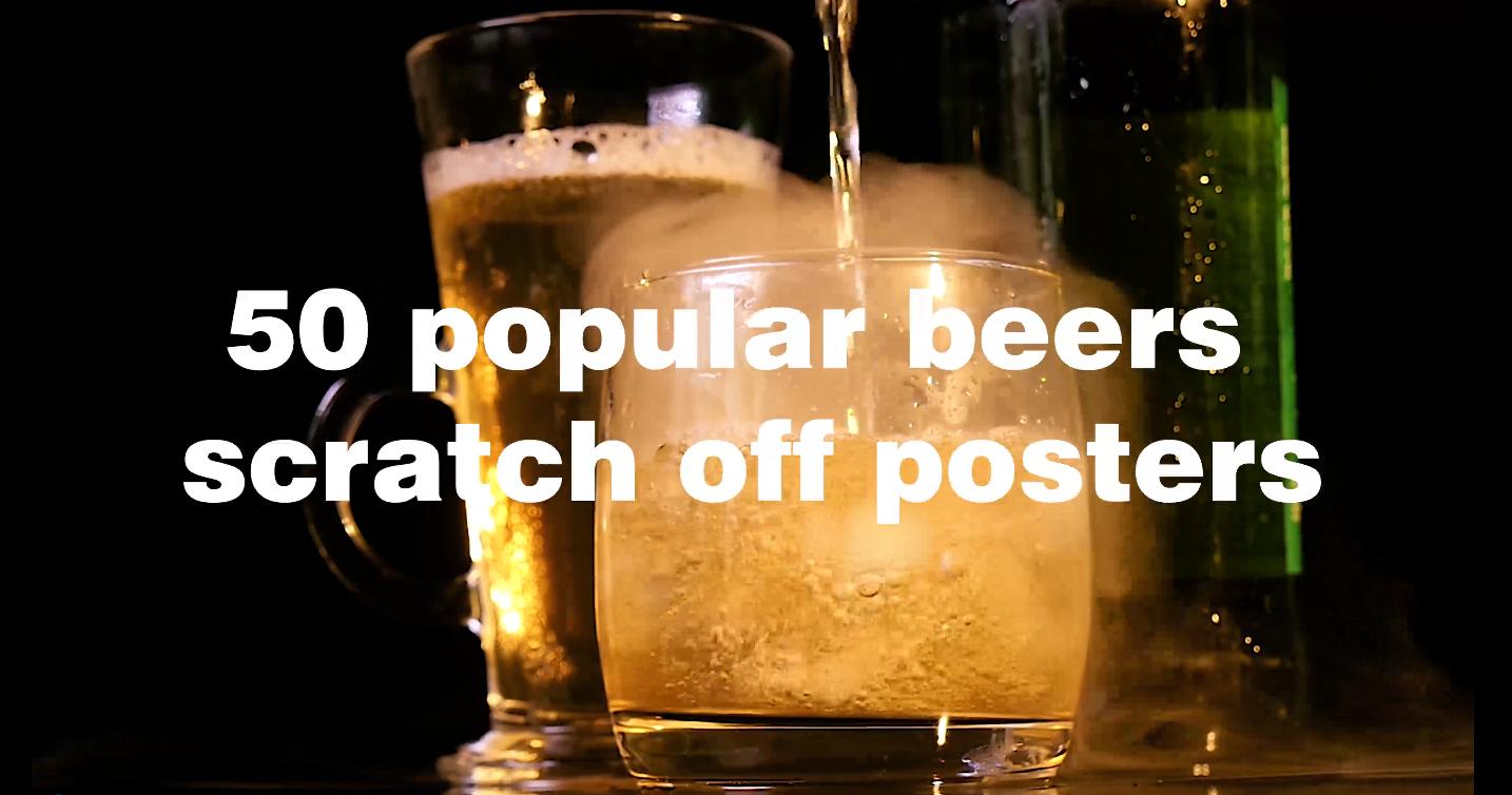 news-Dezheng-Amazon 50 Must Drink Craft Beer Scratch Poster | Dezheng | Gift for Him-img