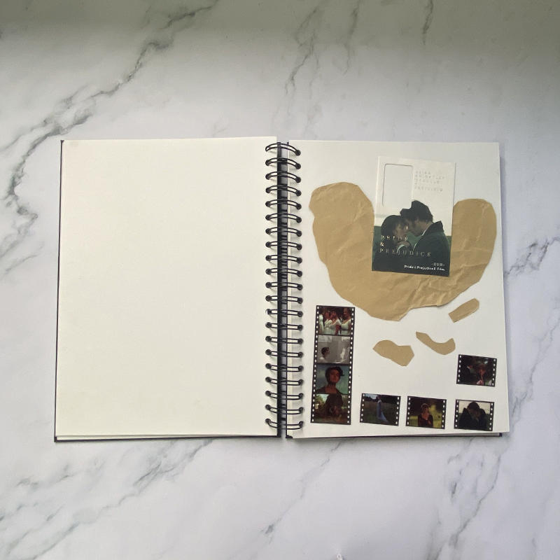 DIY Photo Album Hardcover Black Spiral Binding Scrapbook With 160 White Pages (MOVIE JOURNAL)