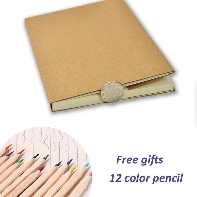 Video of A5 kraft paper sketchbook journal notebook with 12 color pencil gift set