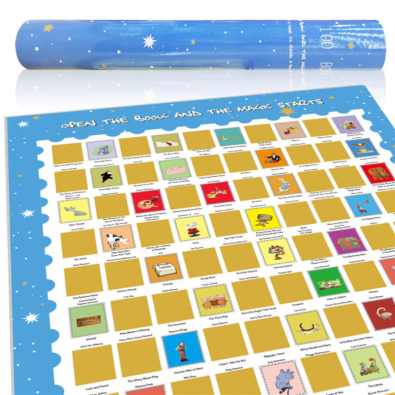 100 Picture Books Bucket List Scratch off Poster for Children