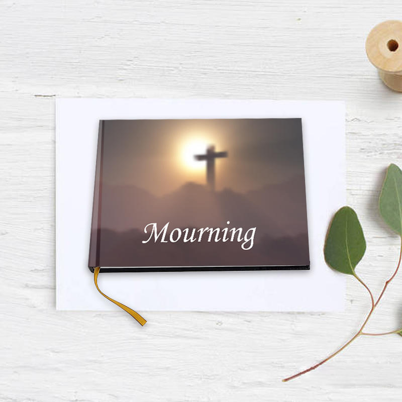 Popular guest book ideas with cross design, memorial guest book for funeral, sign in book