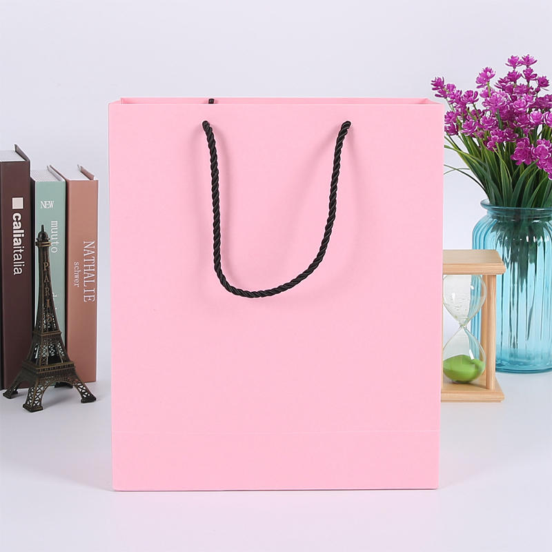 Wholesale Blank Pink Gift Bags With Black Handle | Custom Paper Gift Bags