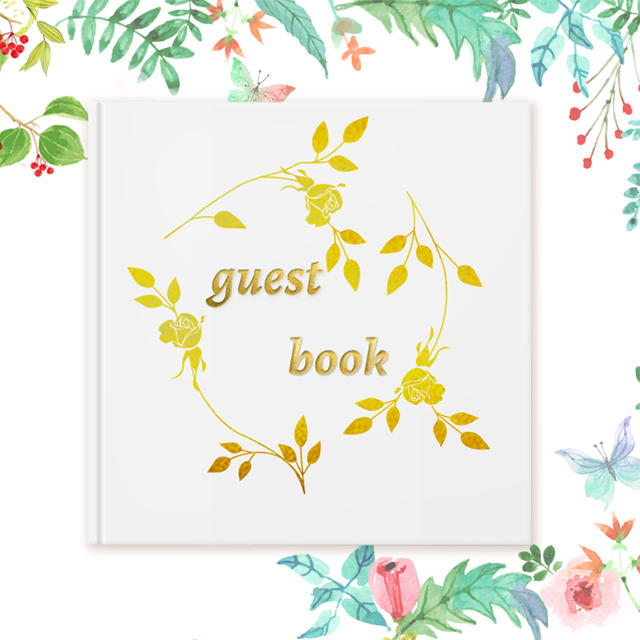 White gold foil wedding guest book alternative for 200 guests