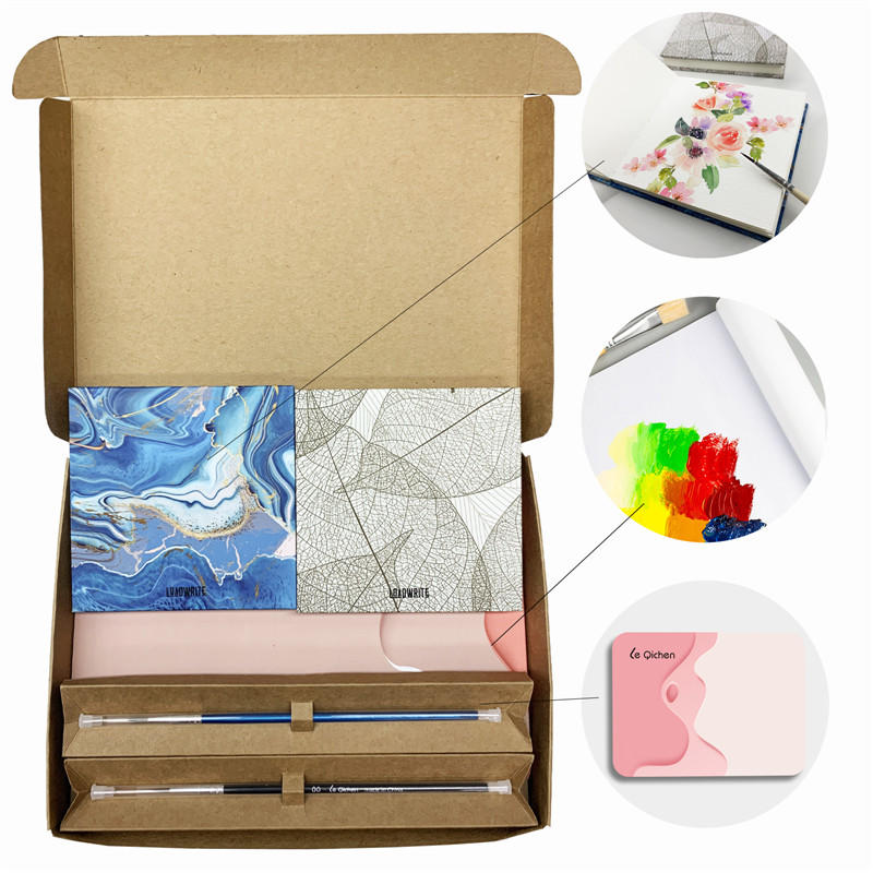 Mini Watercolor Sketchbook with Test Paper and 24 Color paint   Pack of 2