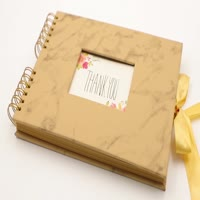Marble hardcover pu leather photo album with window